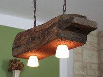 Hängelampe aus altem Holzbalken inkl. LEDs