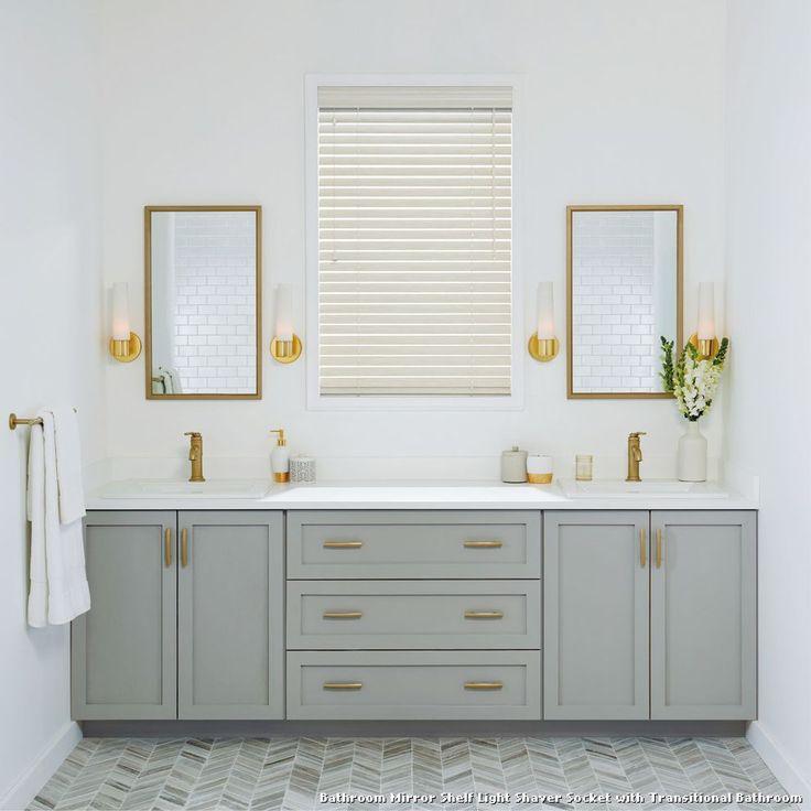 Pic On Bathroom Mirror Shelf Light Shaver Socket