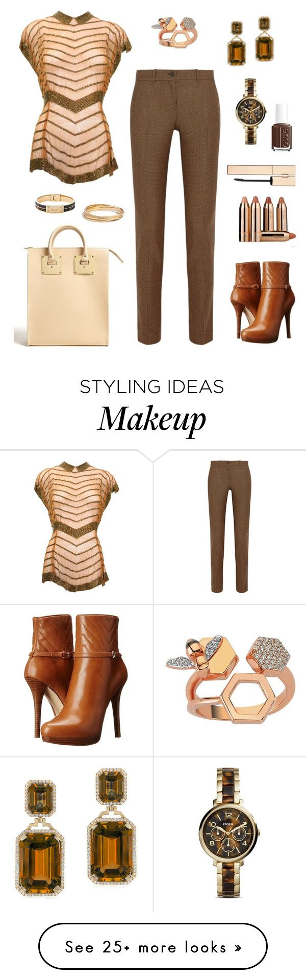 """""""Chevron Outfit Only Contest"""" by tippi-h on Polyvore featuring Michael Kors, MICHAEL Michael Kors, Bee Goddess, Madewell, Goshwara, FOSSIL, Sephora Collection, Essie and Clarins"""