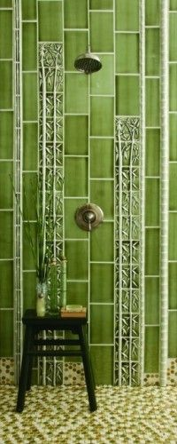 Vertical works and gives a different look.  Bamboo tile from Pratt & Larson