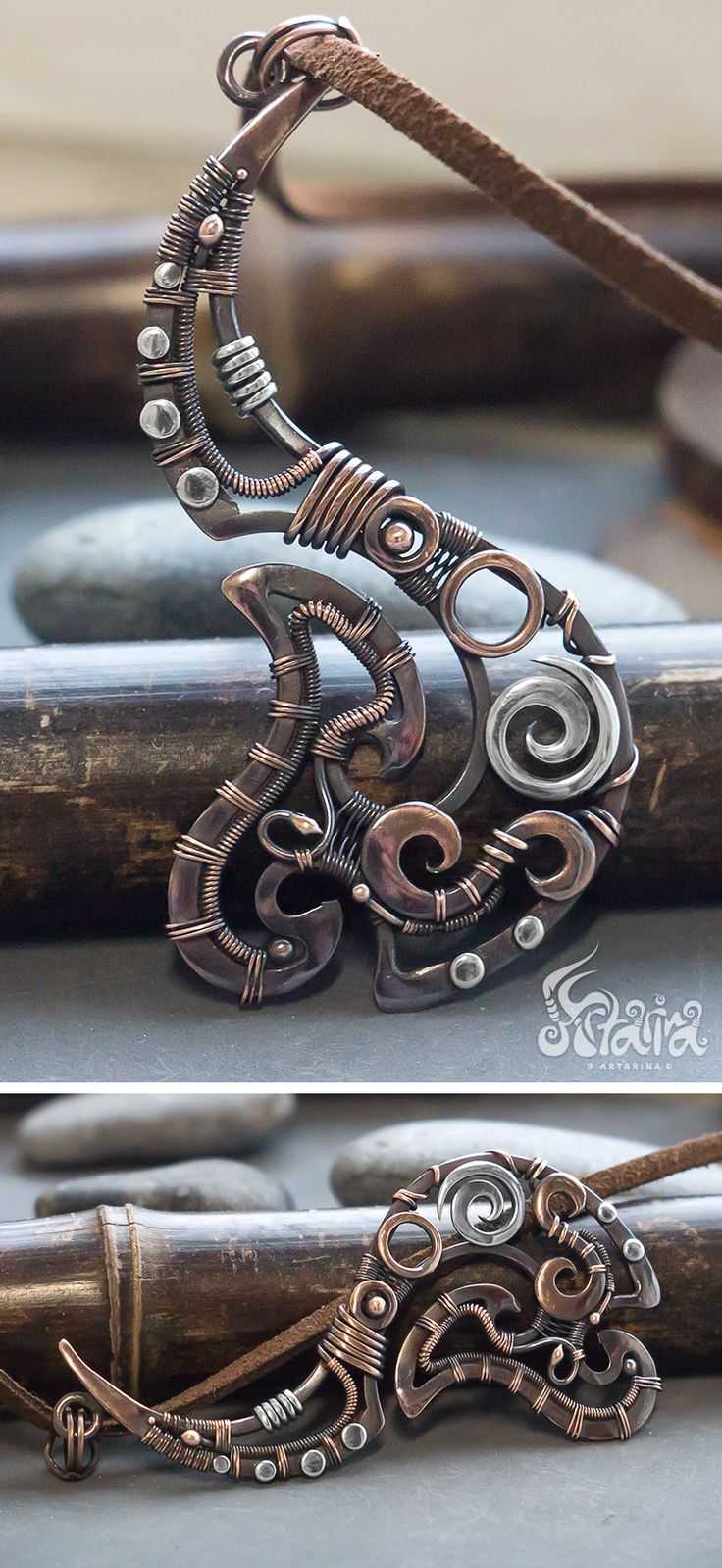Hei Matau Maori fish hook pendant // Mixed metals copper and silver wire wrapped tribal fish hook necklace // Maori symbol inspired jewelry