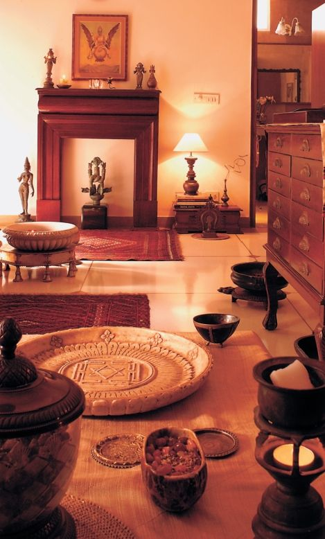 Traditional Indian home design. Puja room.