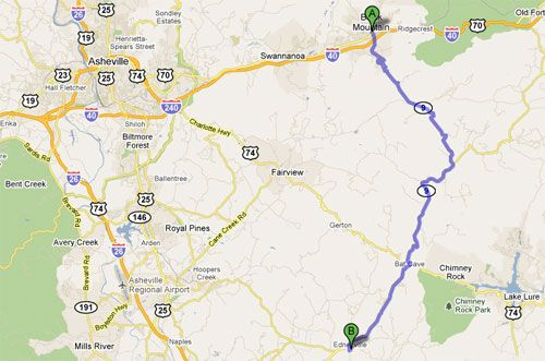 Google Map of Black Mountain Rag - NC Route 9 from Black Mountain to Edneyville, NC
