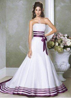 A-Line/Princess Strapless Chapel Train Satin Wedding Dress With Sash