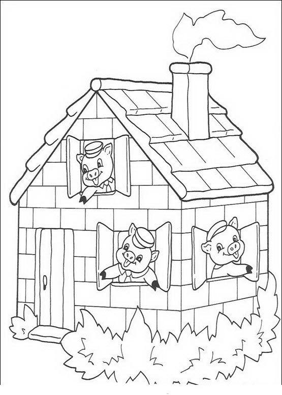 Die drei kleinen Schweinchen Ausmalbilder. Malvorlagen Zeichnung druckbare nº 5
