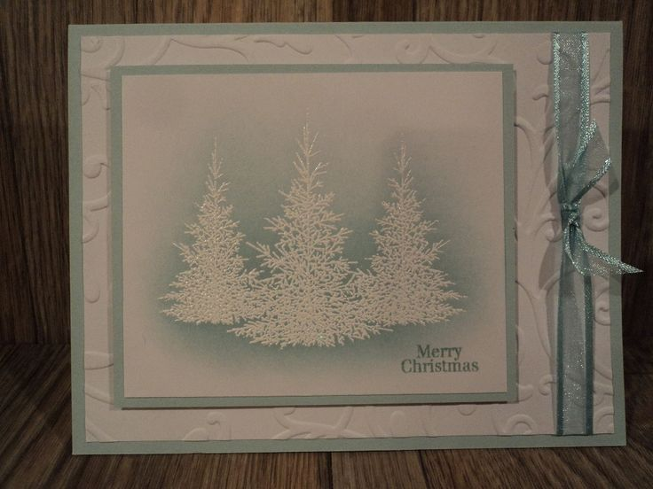 Had recently bought the Gina K Designs stamp set Christmas Greetings and had seen this card made on her Stamp TV channel. Here is the video for this card on Youtube:  https://www.youtube.com/watch?v=_53eUtngyfU&t=162s  VERY easy and FAST card to make for Christmas. IRL the shine of the embossed trees is pretty against the Pool Party inks. Thanks to Gina K for sharing this card and her video. TFL  blog: cardcornerbycandee.blogspot.com