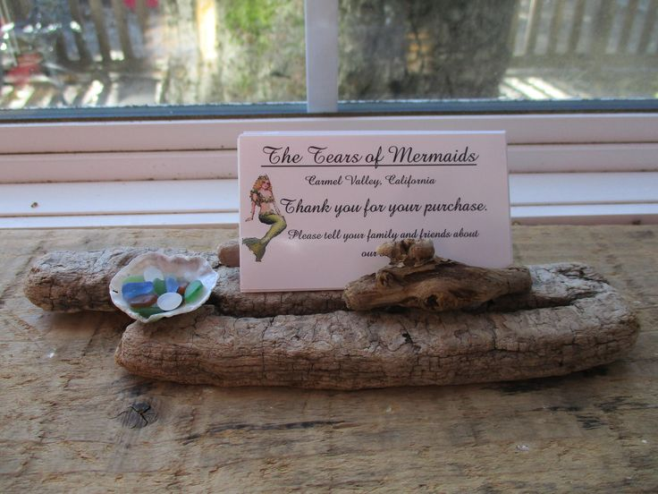 13 best driftwood business card holder images on pinterest driftwood business card display with oyster shell with tiny colorful sea glass nautical style reheart Choice Image