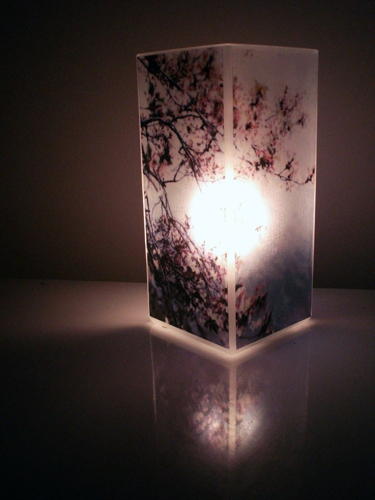 Cherry Blossom Light   Glass Polaroid Photo Table Lamp   Unique  Housewarming Gift, Home Decor, Functional Illuminated Art