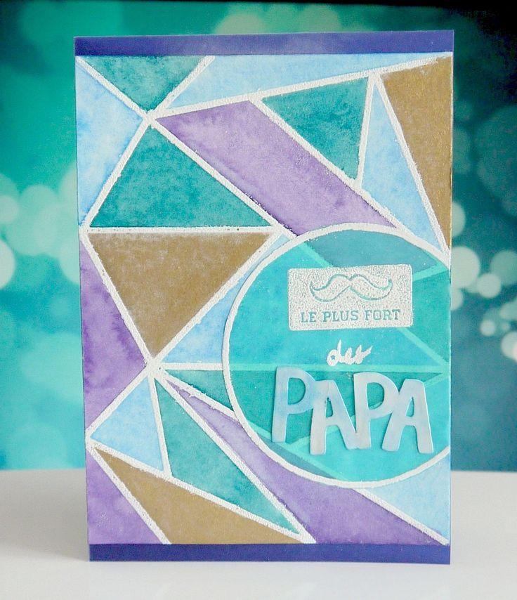 Carte motifs géométriques & aquarelle Fête des Pères : Cartes par msi-s-boutik #Kuretake #Watercolor #embossing #silhouette