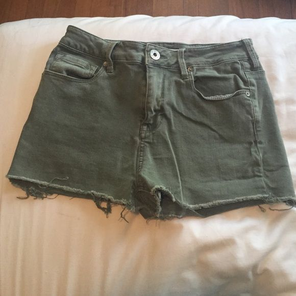 High Waisted Army Green Shorts high waisted, shorts, army green, distressed edges, bullhead, SIZE 7 PacSun Shorts Jean Shorts