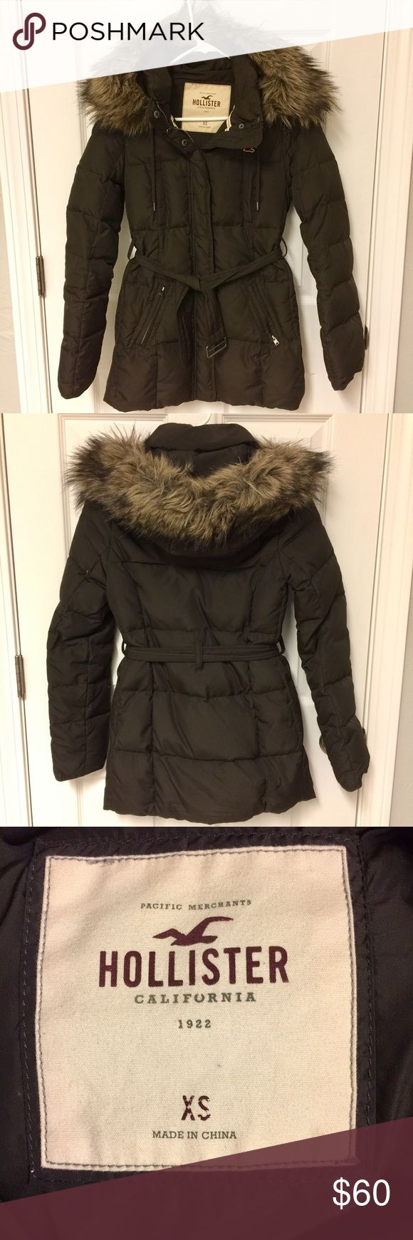 Brown Hollister Down Winter Coat Brown fitted Hollister down winter coat. Mid-length. Very warm and stylish! Removable faux fur around hood. Excellent condition, worn only a few times. Hollister Jackets & Coats