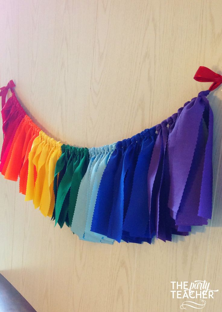 Fun rainbow fabric tie garland. The perfect touch for your Rainbow Party, Wizard of Oz Party, My Little Pony Party or Art Party. Just add my bunting to your party, and make your decorating really easy