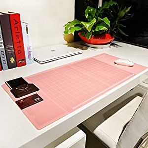 "Amazon.com : Cindy&Will Extra Large Protective Office Desk Mat/Mouse Pad/Table Organizer/Desk Protector/Card Schedule Pockets for Desktops and Laptops, 27.7""x12.6""(Pink) : Office Products"