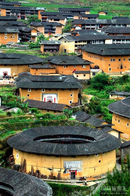 "Fujian Tulou (Chinese: 福建土樓; ""Fujian earthen structures"") is a type of Chinese rural dwellings of the Hakka is in the mountainous areas in southeastern Fujian, China. They were mostly built between the 12th and the 20th centuries."