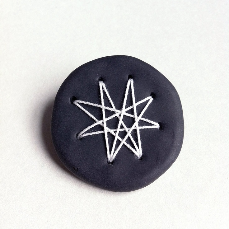 Geometric brooch matte black polymer clay white by Mouseblossom
