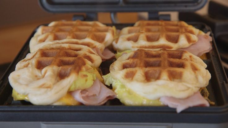 Using store-bought biscuit dough is the key to making these easy 4-ingredient waffle sandwiches filled with scrambled eggs, cheese and ham