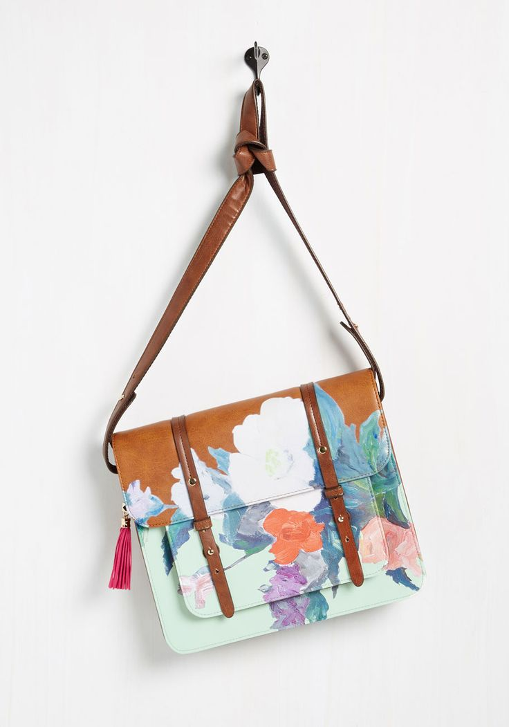 Let's Get Realism Bag. Grabbing this flowered satchel by Disaster Designs is a sure way to start any artistic undertaking off with a bang! #multi #modcloth
