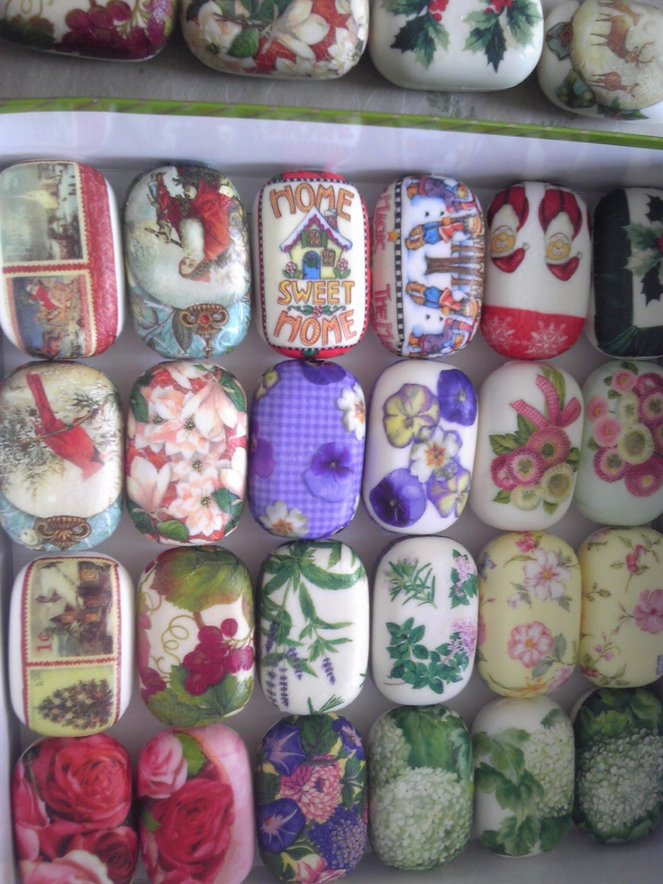 More decorated soaps using different paper napkins