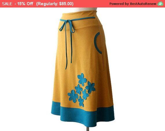 VERKOOP handgemaakte Jersey rok met stoffen rok met door tasifashion
