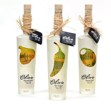 Olivio. Olive Oil Packaging by Eileen Carron design. Love the raffia at the top. Gives authencity IMPDO.
