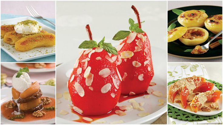 Armut tatlısı, tahinli kabak tatlısı, fırında tarçınlı elma tatlısı, vanilyalı kızarmış muz tatlısı, ayvalı peynir tatlısı, en güzel meyve tatlıları tarifleri.