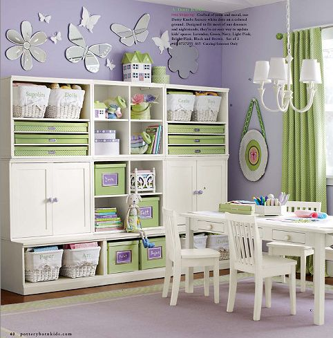 Purple and green girl room from Pottery barn. Love this too for her! Less purple though...