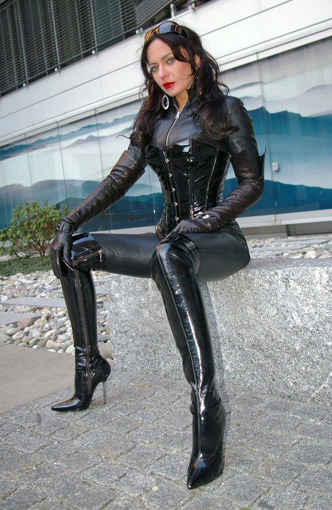 Lady Nadja Leather Skintight Catsuit Corset Shiny Bright ...