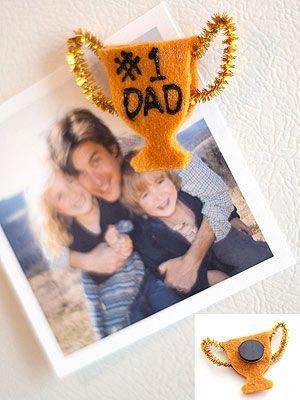 Heartfelt Award: This trophy magnet may be small, but it holds big sentiments for Dad.