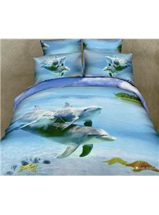 New Arrival cozy Family of dolphin Print 4 Piece Bedding Sets/Comforter Sets