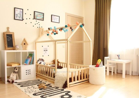 Frame bed TWIN, children bed, play tent, house bed, toddler bed, floor bed, baby room nursery crib, home bed, baby bed, teepee fence &SLATS