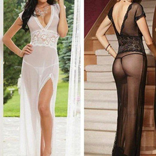 Damen Lange Spitze Perspektive tiefer V-Ausschnitt Unterwäsche Kleider+Tangas U…
