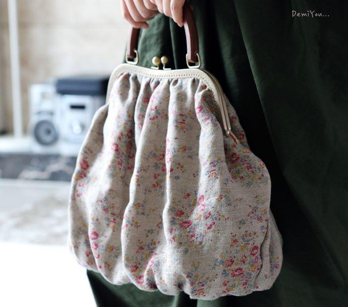 Handmade Linen Frame Bag
