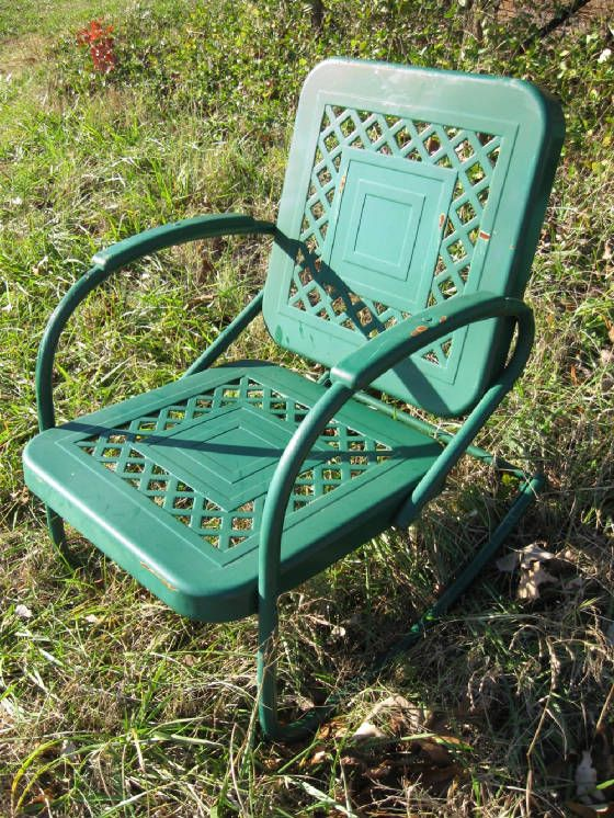 metal chair-I want one to go on my deck...like the ones we had when I was a kid:)