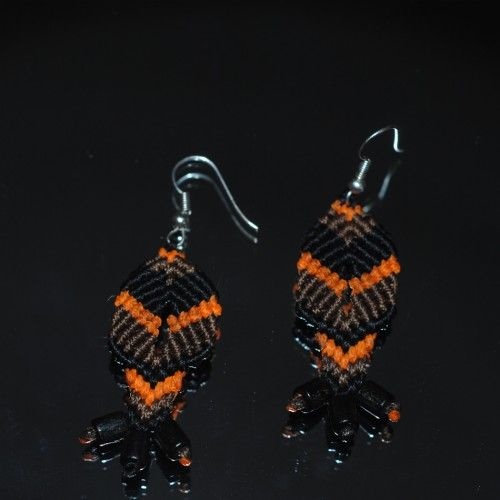 Handmade macrame Earrings, Waxed black, brown, orange thread, Black beads http://reignofknots.com/index.php?route=product/category&path=24