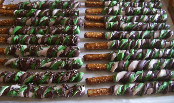 Wedding favor idea. Camo pretzel sticks. Hey, I found this really awesome Etsy listing at https://www.etsy.com/listing/115267928/pretzel-rods-chocolate-covered-pretzel