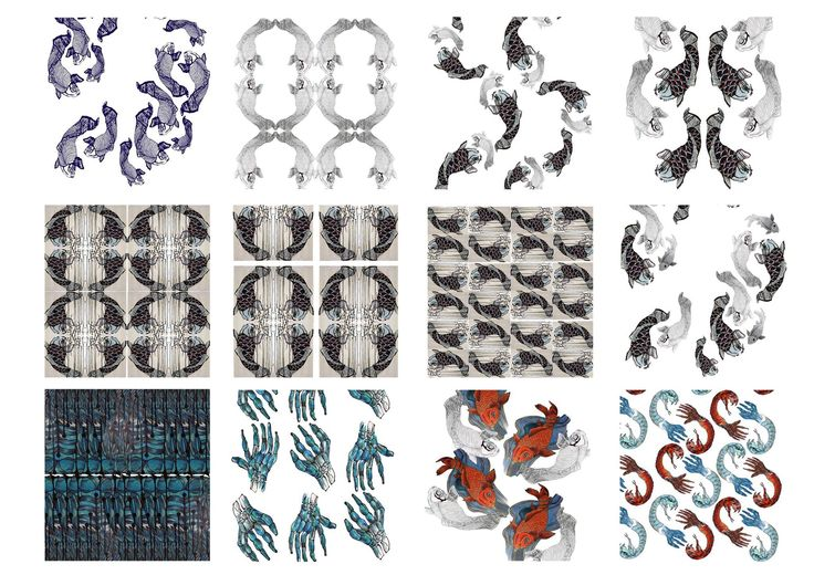 Portfolio collection of illustrated print design ideas. Some of these were abandoned for the final fashion collection.