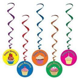 Hangdecoratie Whirls Cupcakes -  Vijf decoraties om op te hangen tijdens een verjaardag. Leuk voor jong en oud! Lengte: 100cm.   www.feestartikelen.nl