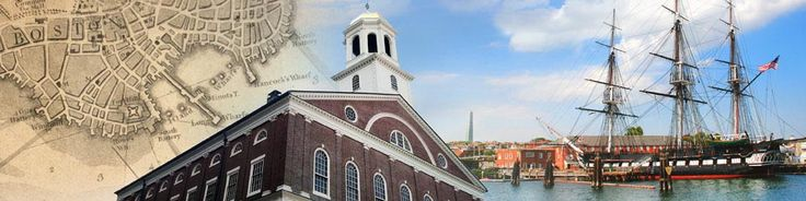 Boston National Park (Freedom Trail) Colonial Boston Map, Faneuil Hall and the Charlestown Navy Yard skyline