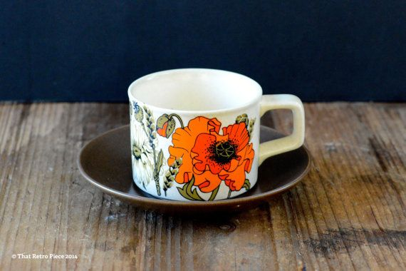 Johnson of Australia 'Poppy' teacup/saucer set by ThatRetroPiece