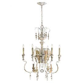 """6-light iron and wood chandelier with leaf detail and drop bead accents.  Product: ChandelierConstruction Material: Iron, wood and glassColor: White and goldAccommodates: (6) 60 Watt candelabra bulbs - not includedDimensions: 31.5"""" H x 24"""" Diameter"""