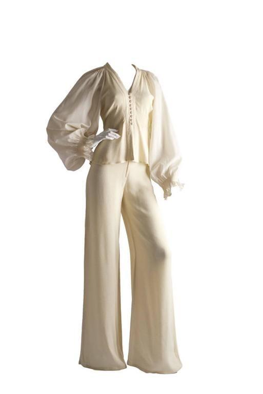Ossie Clark Radley Crepe Original 1970s Vintage Cream Two Piece Trouser Wedding 2