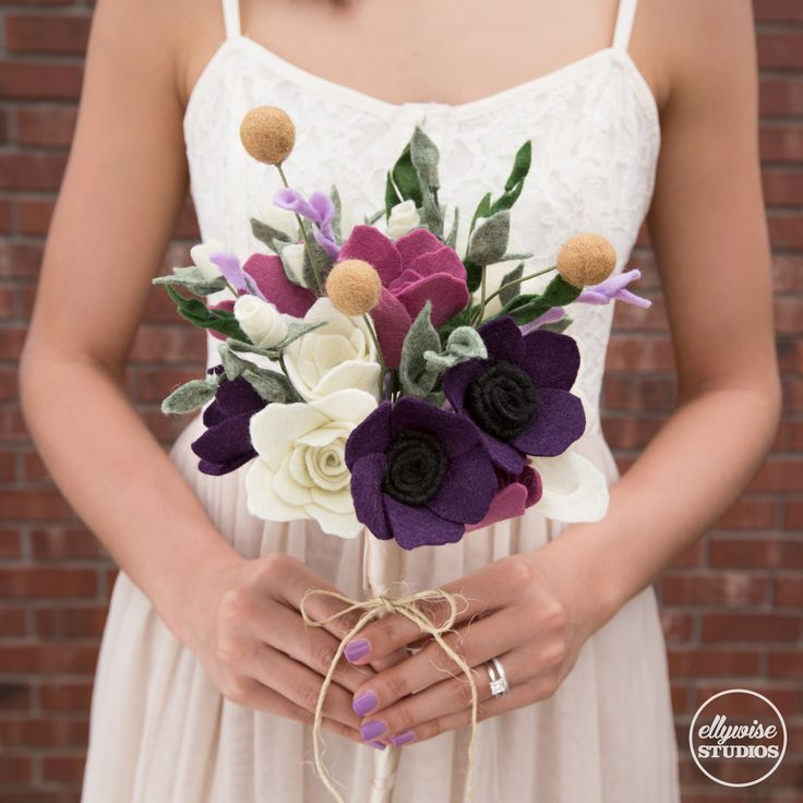 Fall rehearsal bouquet felt flowers Memphis Ellywise Studios wedding purple champagne