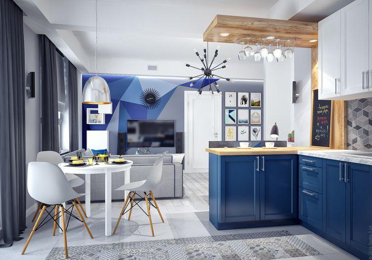 Нижние секции кухонного гарнитура глубоко синего цвета.