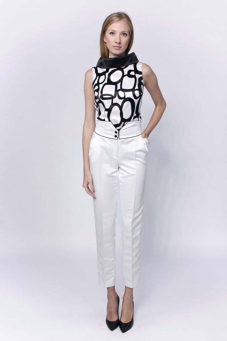 Linea-L black&white blouse with stand up cowl collar