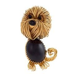 Van Cleef & Arpels Mid-20th Century Black Onyx and Gold Dog Brooch