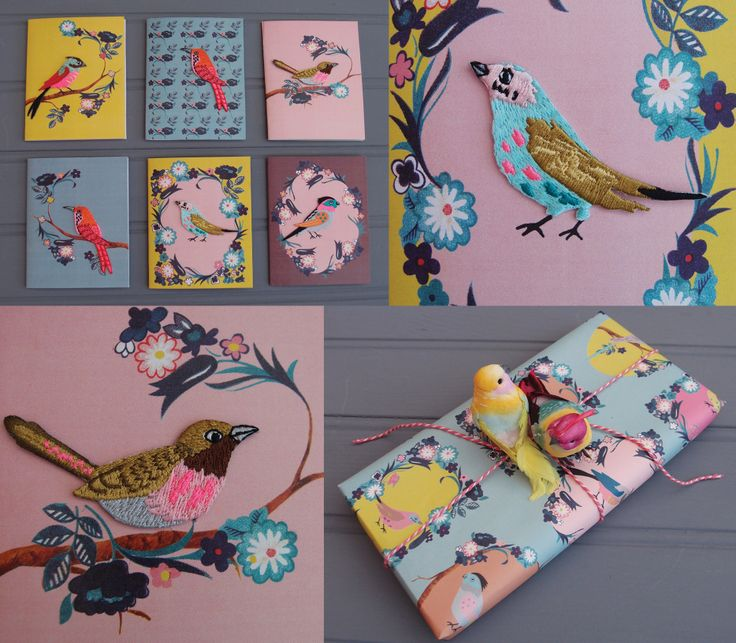 Embroidered bird greeting cards and wrap from Petra Boase