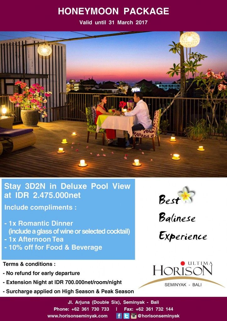 Special Honyemoon Package with Romantic Dinner on rooftop