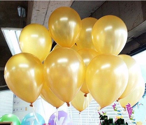 Free Shipping 20pcs/lot 10 inch Gold Pearl Latex Balloons Thicken Float Balloons Christmas Wedding Party Home Decoration toys