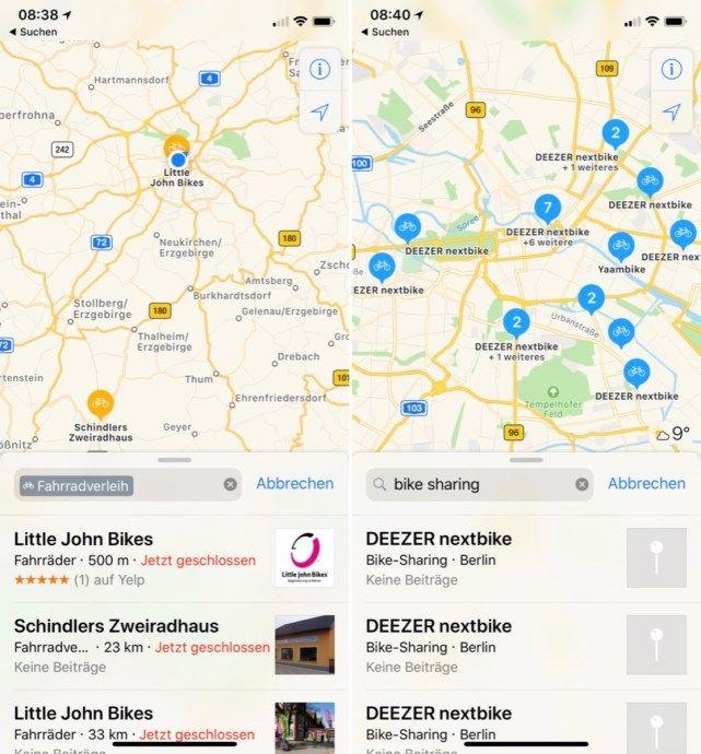 Bike Sharing Landet In Den Apple Karten Karten Verleih Und