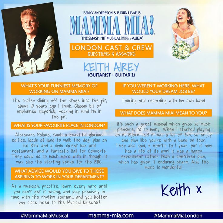 Presenting the ABBA-solutely amazing Keith Airey, Guitar 1 in the London production of MAMMA MIA! 🎸  Join the fun with MAMMA MIA! at the Novello Theatre - BOOK TICKETS TODAY: www.mamma-mia.com  #MammaMiaMusical #MammaMiaLondon #MeetTheCrew